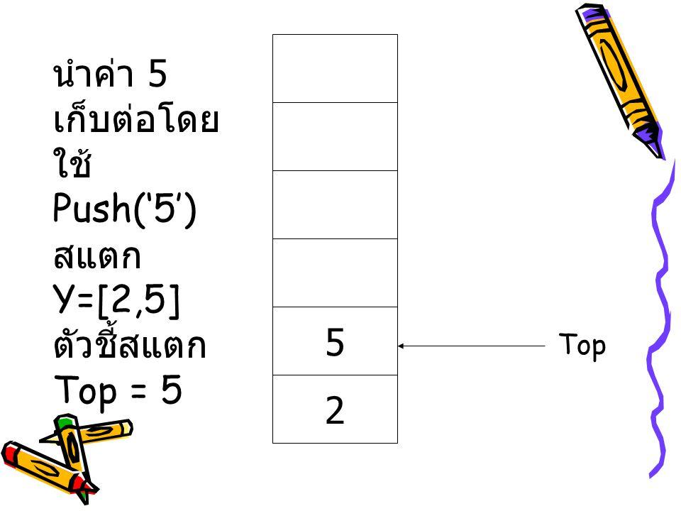 นำค่า 5 เก็บต่อโดยใช้ Push('5') สแตก Y=[2,5]